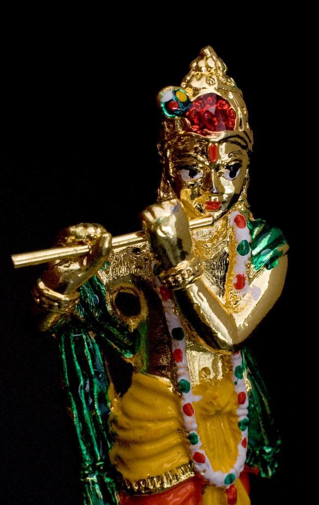エナメル細工の金色クリシュナ像(8cm)の写真