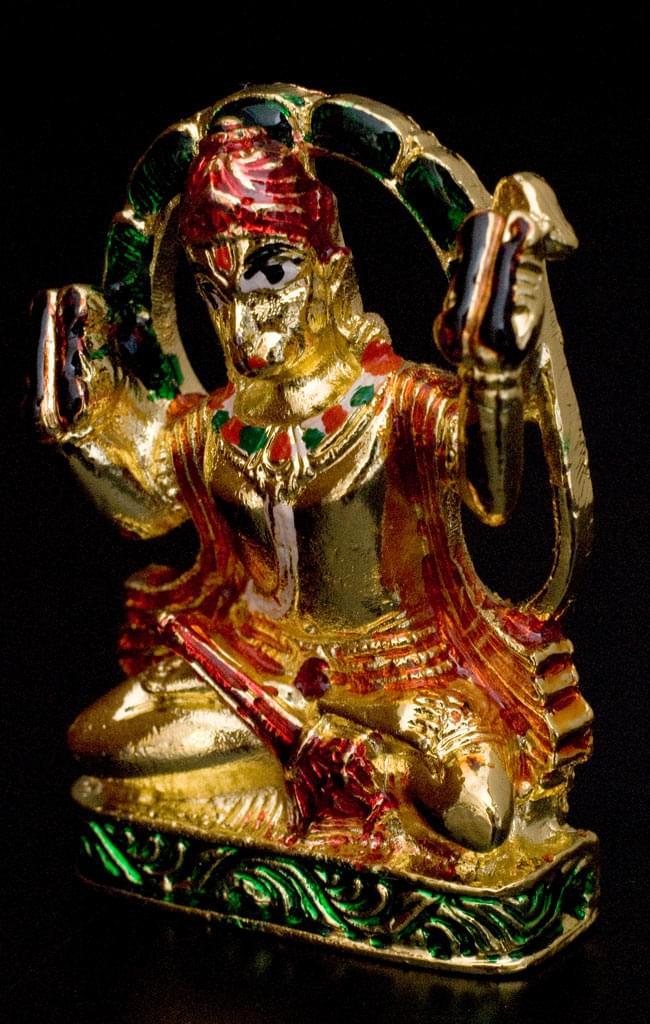 エナメル細工の金色ハヌマーン像(5cm)の写真2 - 向かって右側から見るとこのような姿