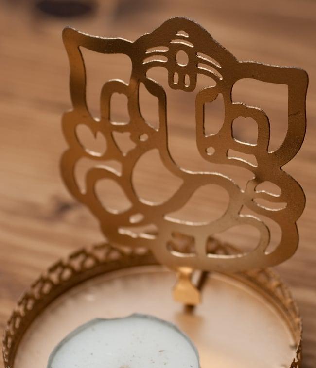 ティーライトキャンドルのシャドウランプ - ガネーシャの写真3 - 模様部分の拡大写真です