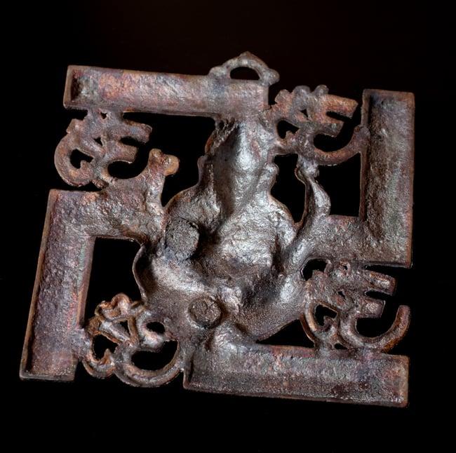 〔壁掛けタイプ〕インドの神様ウォールハンギング - 卍とオーンガネーシャ〔21cm〕の写真6 - 裏面はこのようになっています