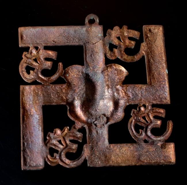 〔壁掛けタイプ〕インドの神様ウォールハンギング - 卍とオーンガネーシャ〔24cm〕の写真6 - 裏面はこのようになっています