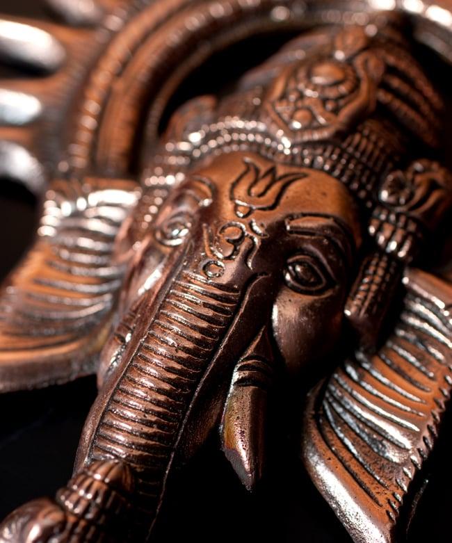 〔壁掛けタイプ〕インドの神様ウォールハンギング - ガネーシャフェイス〔23.5cm〕の写真7 - 細部の拡大写真です