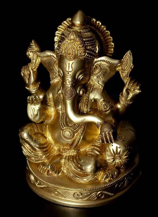 ブラス製 座りガネーシャ像[17cm]の写真