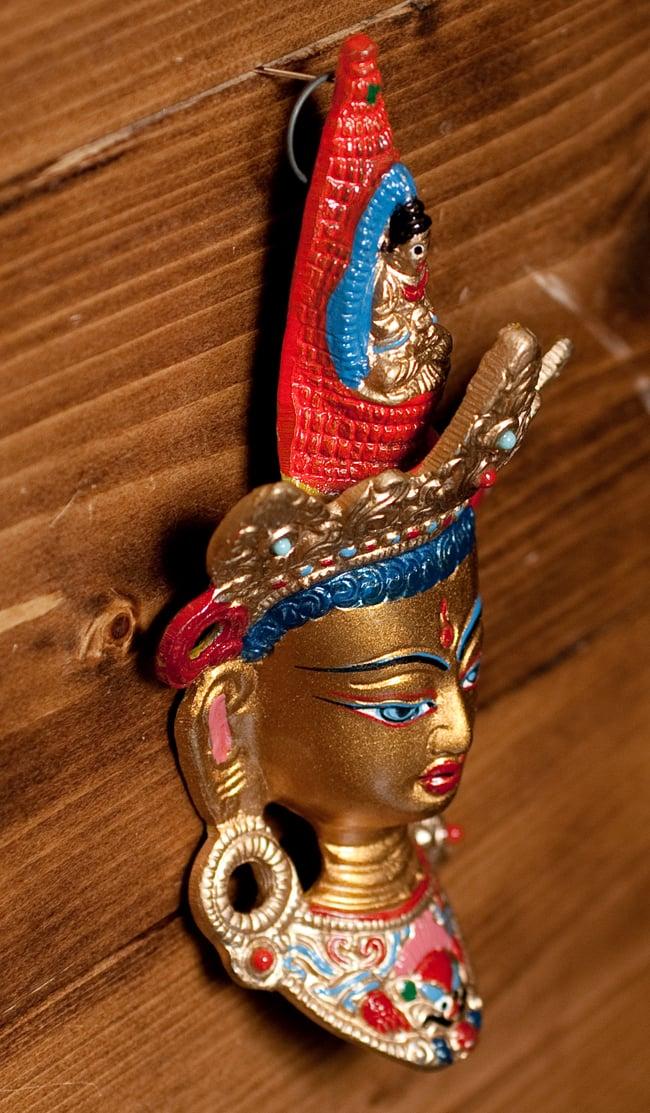〔壁掛けタイプ〕インドの神様ウォールハンギング - ホワイトターラー〔18cm〕 4 - 反対側からの写真です