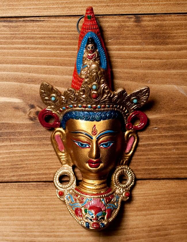 〔壁掛けタイプ〕インドの神様ウォールハンギング - ホワイトターラー〔18cm〕の写真