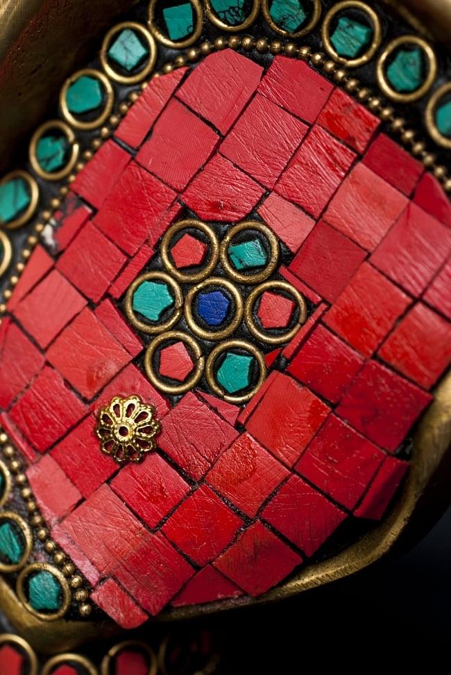 【一点もの】緑青石装飾のガネーシャ[高さ:21cm]の写真8 - 石を用いた美しい仕上がりです。