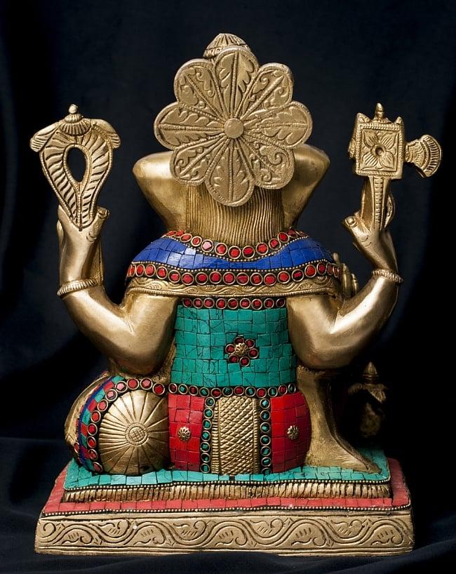 【一点もの】緑青石装飾のガネーシャ[高さ:30cm]の写真9 - 背面の様子です。