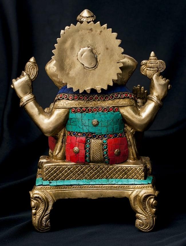 【一点もの】緑青石装飾のガネーシャ[高さ:27cm]の写真9 - 背面の様子です。
