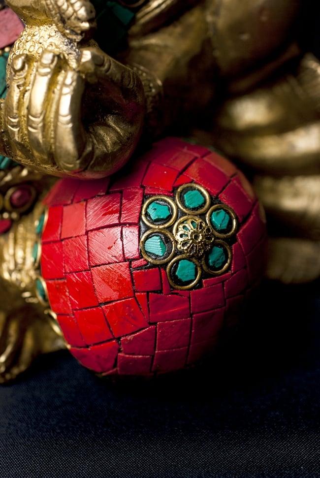 【一点もの】緑青石装飾のガネーシャ[高さ:20cm]の写真6 - 見るたびに発見のある細部