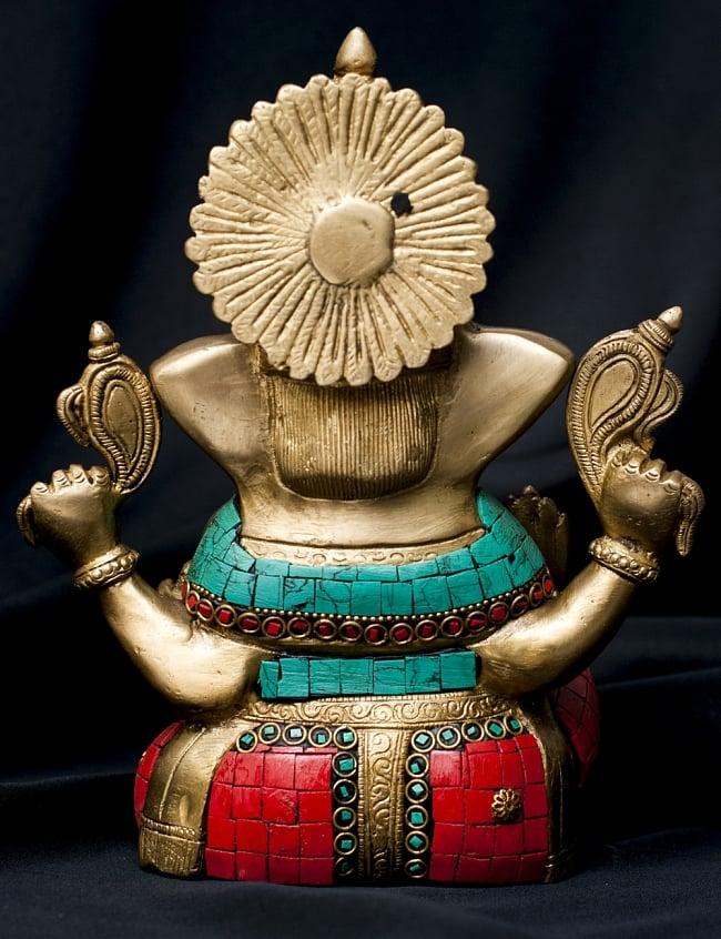 【一点もの】緑青石装飾のガネーシャ[高さ:20cm]の写真9 - 背面の様子です。