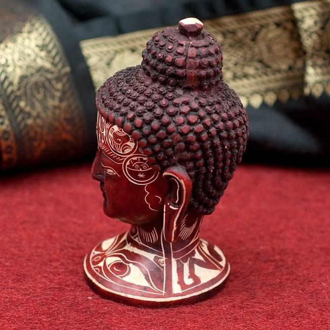 手彫り模様のブッダ・ヘッド[11.8cm] 2 - 横からの写真です