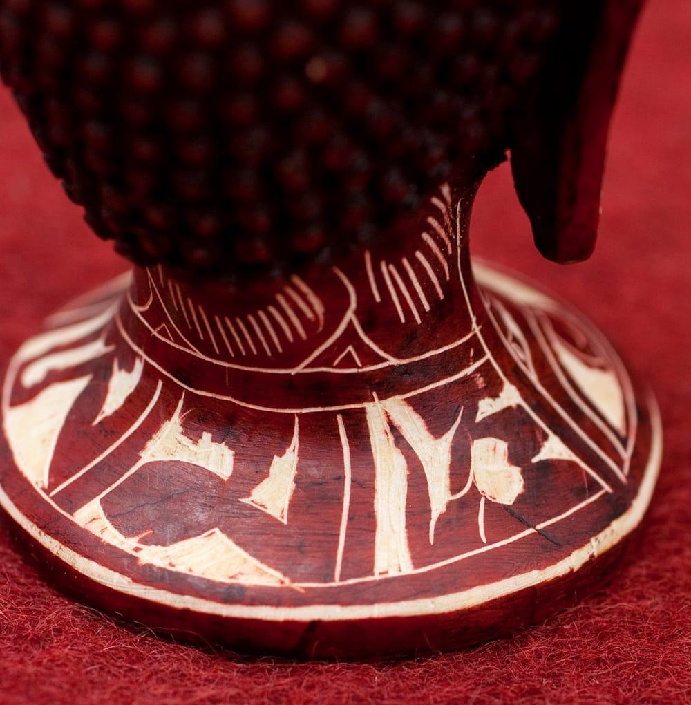 手彫り模様のブッダ・ヘッド[11.8cm] 6 - 別の角度からの写真です