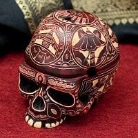 手彫り模様のスカル型灰皿&小物入れ