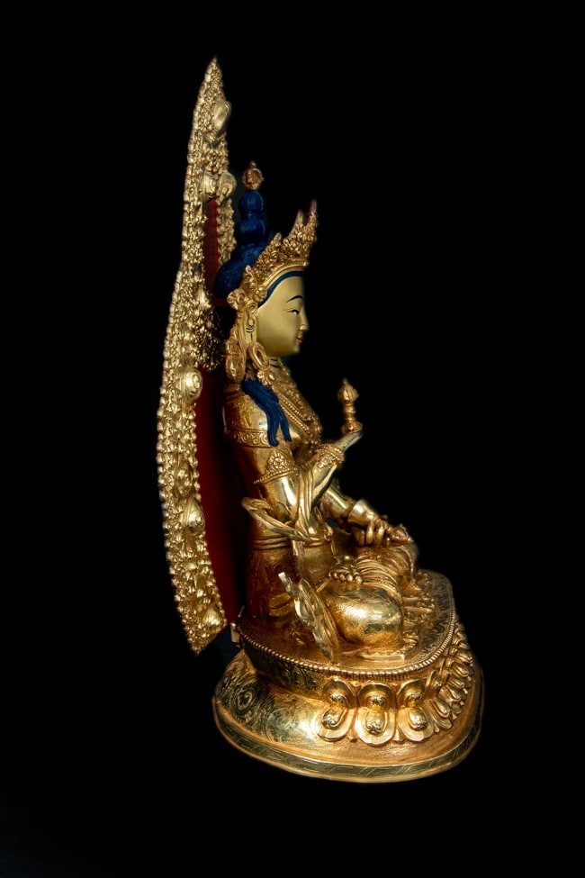 金剛薩た(ヴァジュラ・サットゥヴァ) 銅造鍍金仕上げ - 37cm 17 - 横から見てみました。