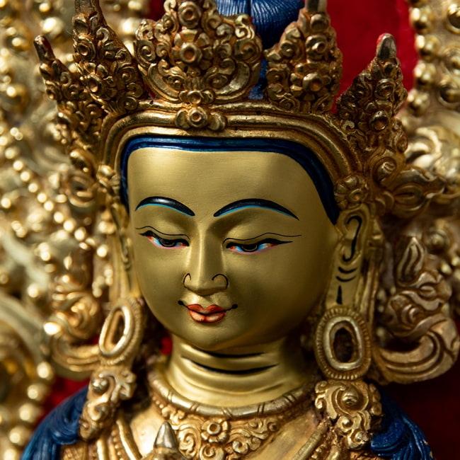 金剛薩た(ヴァジュラ・サットゥヴァ) 銅造鍍金仕上げ - 37cm 2 - お顔の拡大です。柔らかな表情に慈愛を感じます。