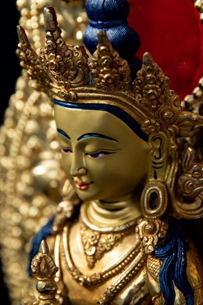 金剛薩た(ヴァジュラ・サットゥヴァ) 銅造鍍金仕上げ - 37cm 5 - 荘厳な趣のある神像です。