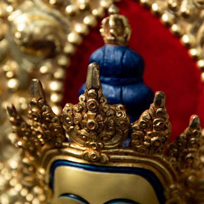 金剛薩た(ヴァジュラ・サットゥヴァ) 銅造鍍金仕上げ - 37cm 7 - 頭部の様子です。