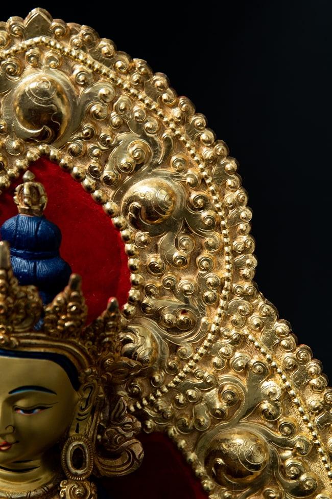 金剛薩た(ヴァジュラ・サットゥヴァ) 銅造鍍金仕上げ - 37cm 8 - 光輪は取り外すことができます。