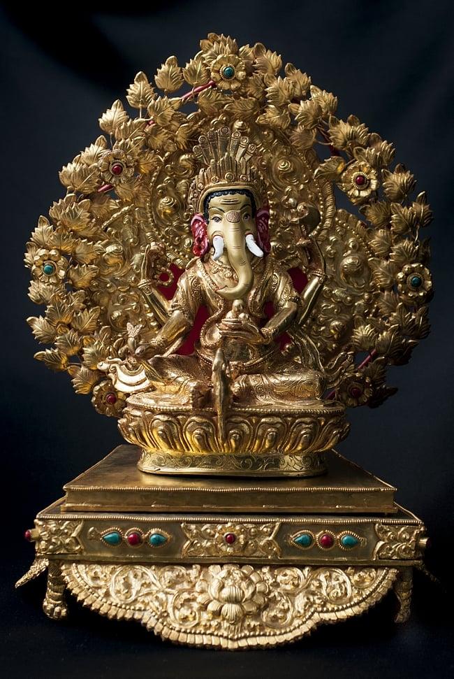 神像・仏像用台座  - 銅造鍍金仕上げ 10 - 大聖歓喜天(ガネーシャ) 銅造鍍金仕上げ - 20cm (TI-RSDL-1360)を設置してみました。