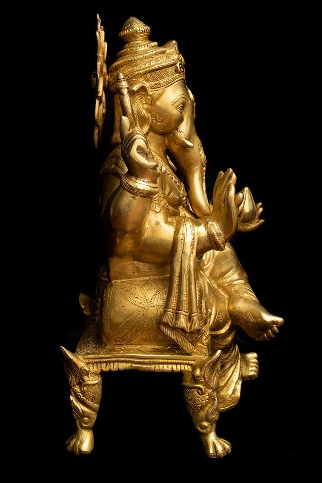 ブラス製 座りガネーシャ像[50cm] 14 - 側面からの様子です。