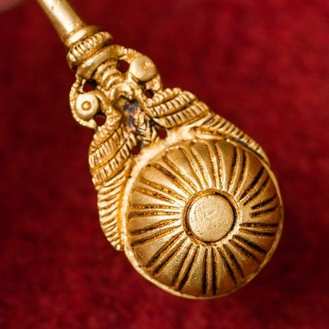 ブラス製 孔雀のスプーン - [高さ:約17.5cm] 6 - スプーン部分の裏側にも彫り込みがされています。