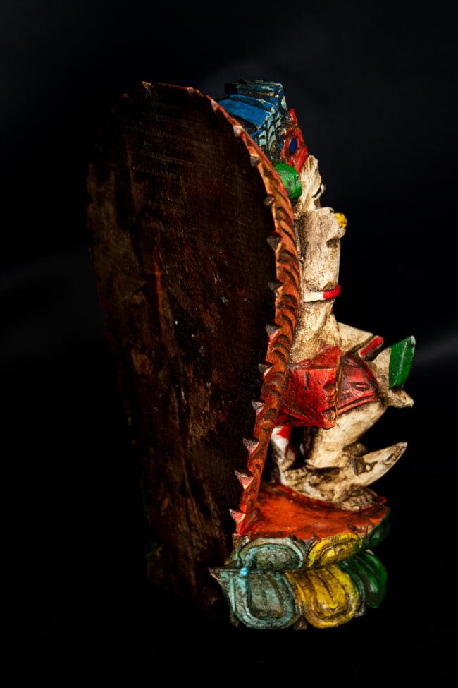[一点もの]木彫りのホワイト・ガネーシャ - 18cm 9 - 背面からの様子です。