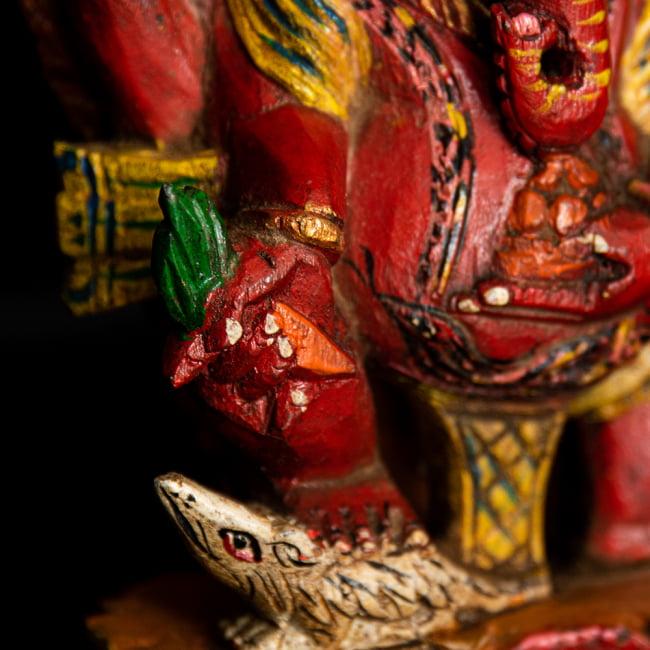 [一点もの]木彫りのレッド・ガネーシャ - 18.5cm 6 - お顔の部分を更にアップにしました