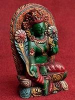 [一点もの]木彫りのグリーン・ターラー - 25.5cm
