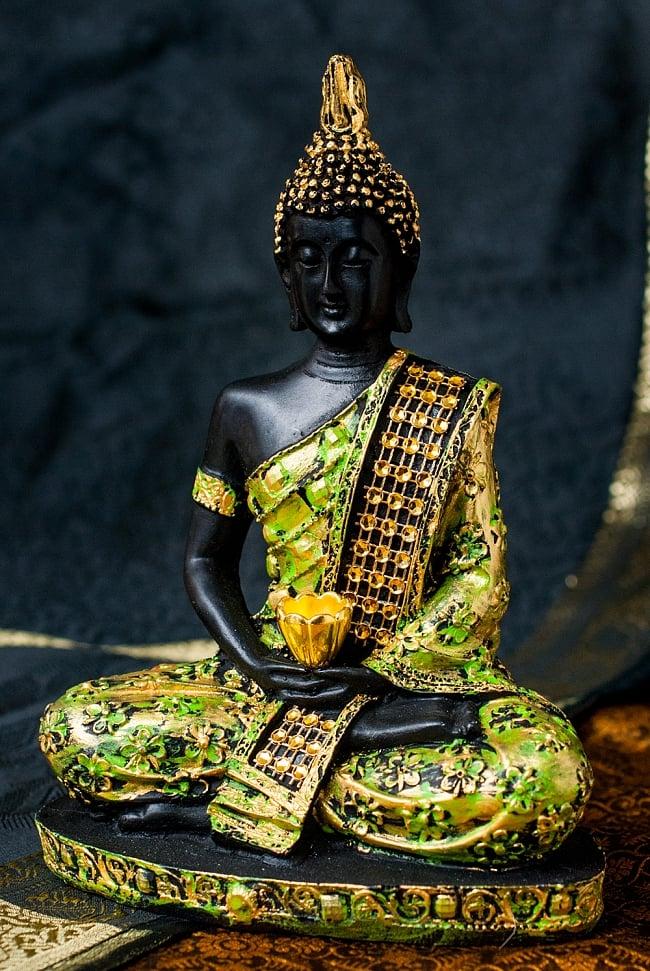 金装飾ブッダ[19cm] 10 - 選択2:緑と金色