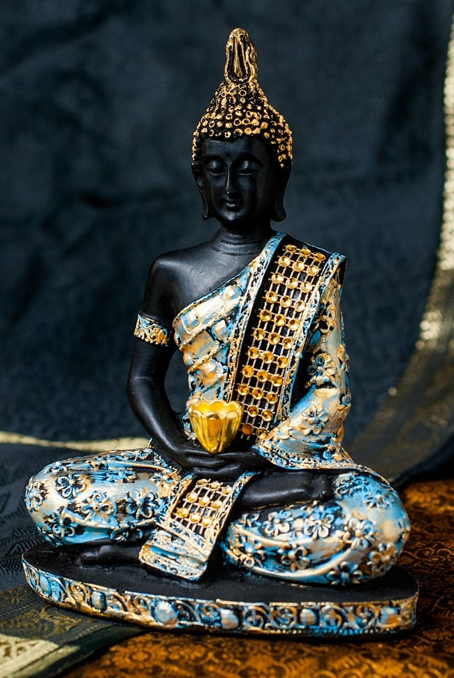 金装飾ブッダ[19cm] 11 - 選択3:水色と金色