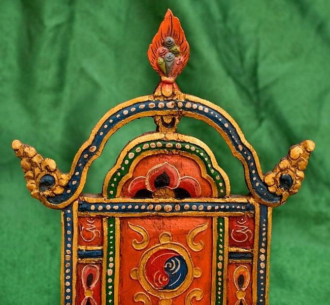 チベットの木彫りの神像・仏像用台座 高さ:24cm 5 - 上部のモチーフを撮影してみました。