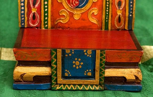 チベットの木彫りの神像・仏像用台座 高さ:24cm 9 - 台座正面です。