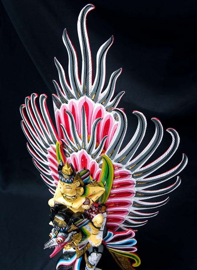 ガルーダ&ヴィシュヌ像 特大サイズ70cm 6 - 躍動感のある羽がついています。