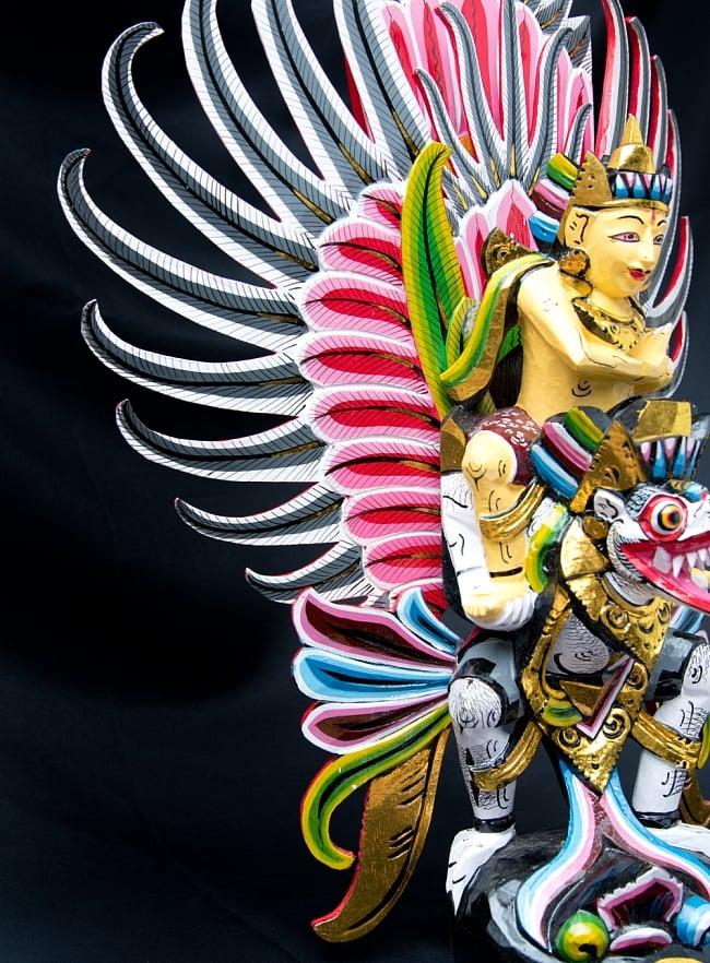 ガルーダ&ヴィシュヌ像 特大サイズ70cm 7 - 流れるような羽の表現です。