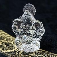 インドの神様 ガラス製ペーパーウェイト〔6.5cm×5cm〕 - ガネーシャ