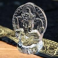 インドの神様 ガラス製ペーパーウェイト〔9cm×6.5cm〕 - ガネーシャ