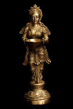 ブラス製 ディワリ・ラクシュミー像 (大型 高さ:約56.5cm)