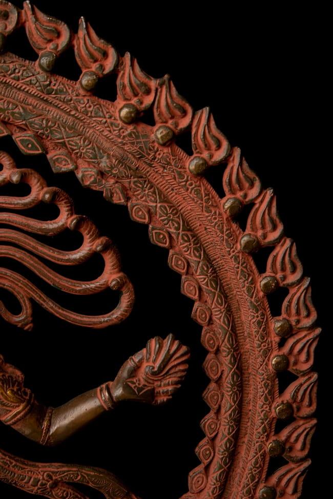 ブラス製 アンティーク調ナタラジ(ダンシング・シヴァ) 56cm 7 - 周縁部分の様子です。