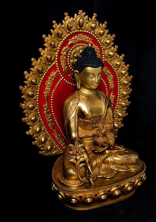 薬師如来(バイシャジヤ・グル) 銅造鍍金仕上げ - 54cm 17 - 横から見てみました。
