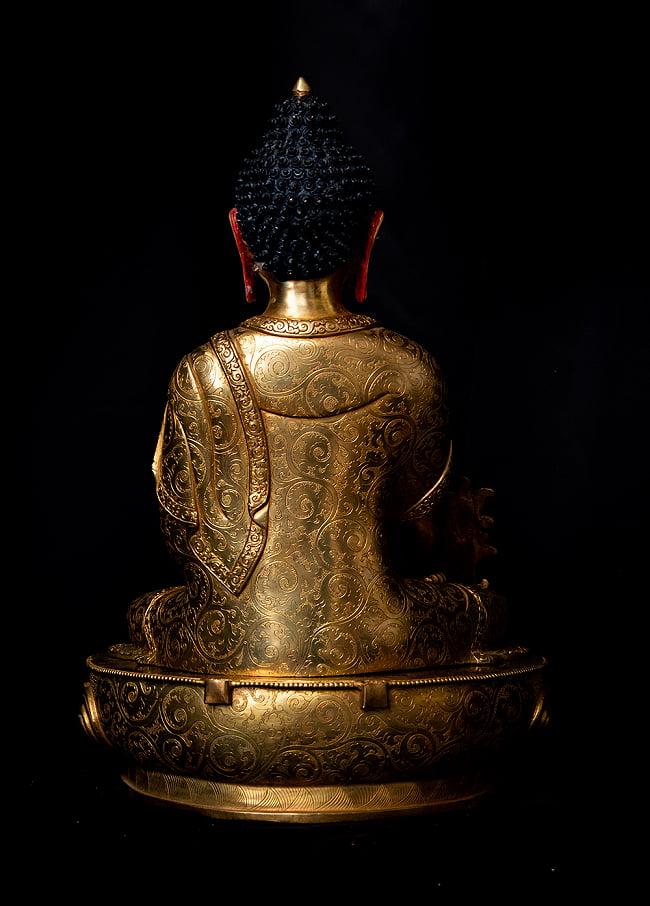 薬師如来(バイシャジヤ・グル) 銅造鍍金仕上げ - 54cm 19 - 光輪は取り外すことができます。
