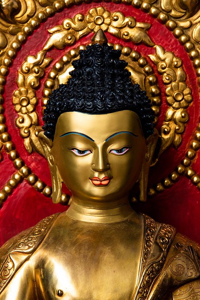 薬師如来(バイシャジヤ・グル) 銅造鍍金仕上げ - 54cm 2 - お顔の拡大です。柔らかな表情に慈愛を感じます。