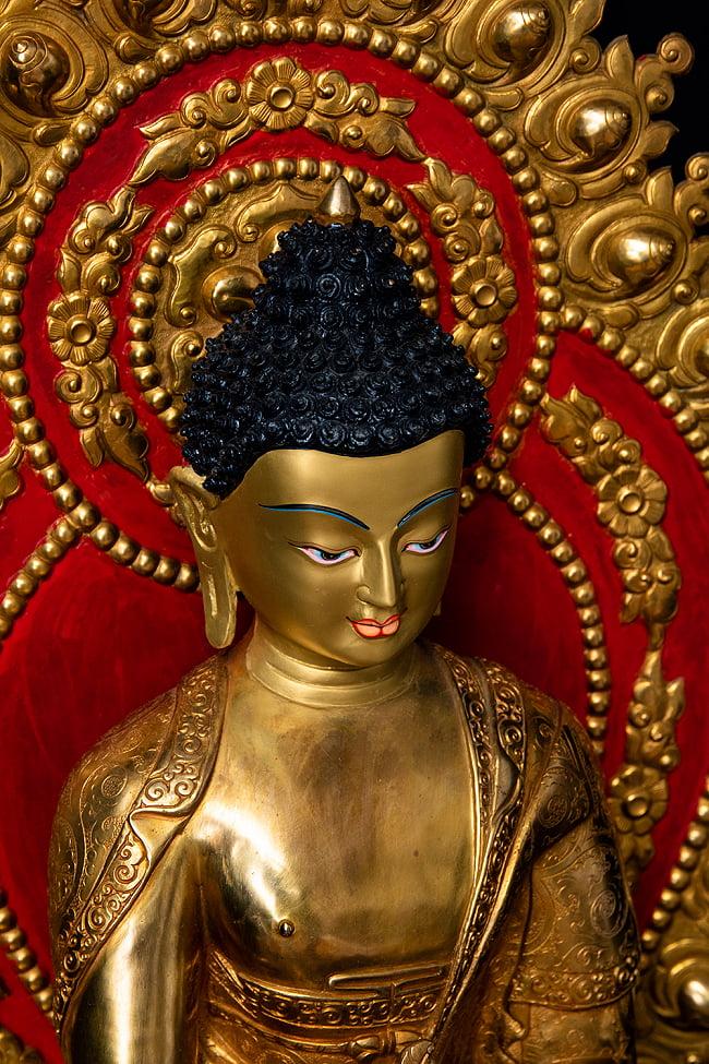 薬師如来(バイシャジヤ・グル) 銅造鍍金仕上げ - 54cm 5 - 荘厳な趣のある神像です。