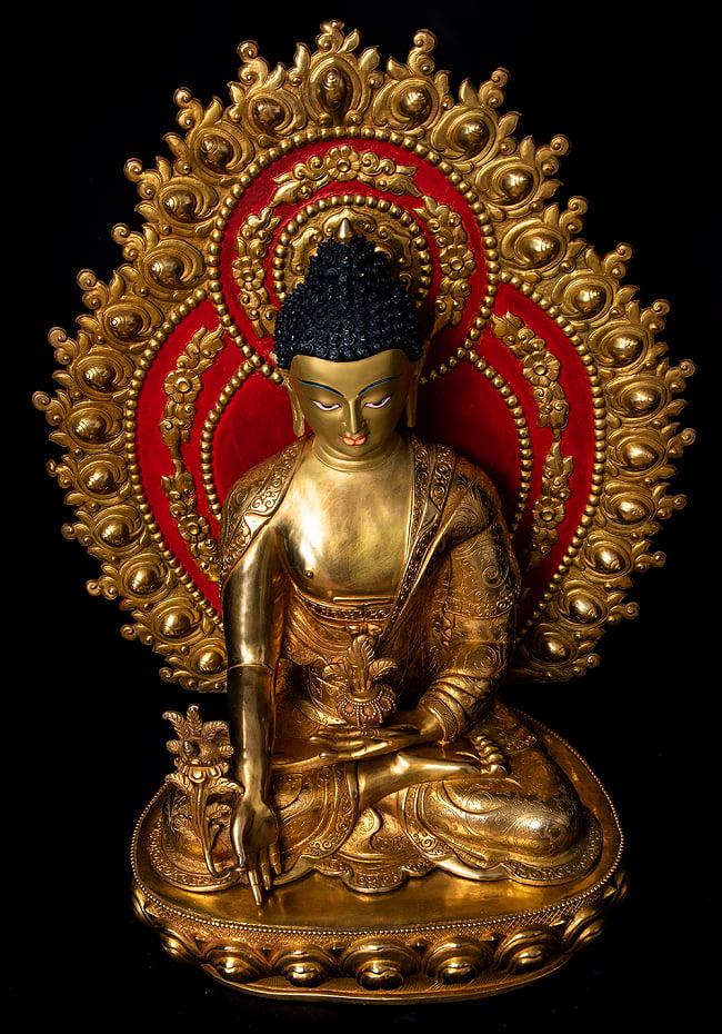 薬師如来(バイシャジヤ・グル) 銅造鍍金仕上げ - 54cm 7 - 頭部の様子です。