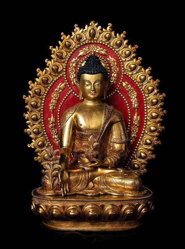薬師如来(バイシャジヤ・グル) 銅造鍍金仕上げ - 54cmの写真
