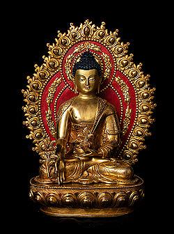 薬師如来(バイシャジヤ・グル) 銅造鍍金仕上げ - 54cmの商品写真
