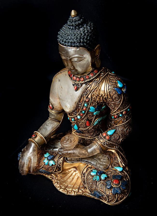 水晶阿しゅく如来(アクショービヤ) 銅造鍍金水晶彫琢仕上げ - 22cm 11 - 上からの図像です。