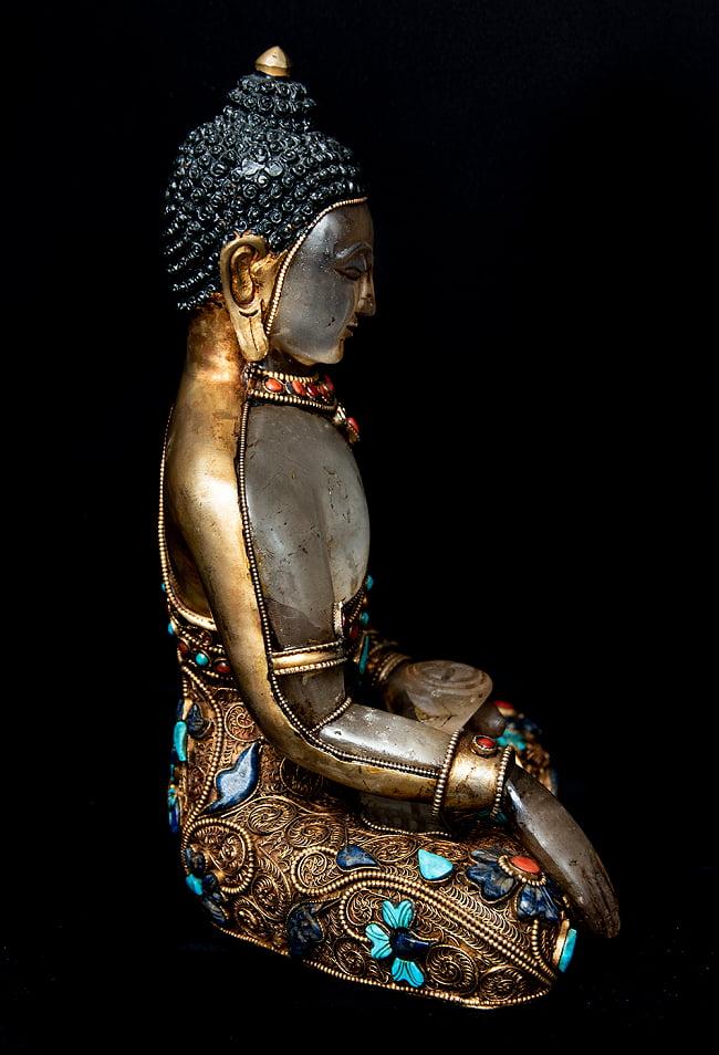 水晶阿しゅく如来(アクショービヤ) 銅造鍍金水晶彫琢仕上げ - 22cm 14 - 側面からの様子です。