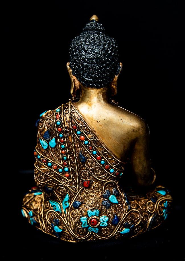 水晶阿しゅく如来(アクショービヤ) 銅造鍍金水晶彫琢仕上げ - 22cm 15 - 後ろからの図像になります。