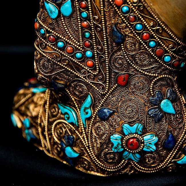 水晶阿しゅく如来(アクショービヤ) 銅造鍍金水晶彫琢仕上げ - 22cm 16 - 細かな箇所まで装飾が行き渡っています。