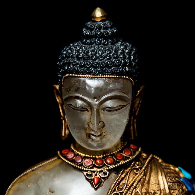 水晶阿しゅく如来(アクショービヤ) 銅造鍍金水晶彫琢仕上げ - 22cm 3 - 優しい顔つきです。